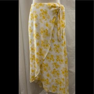 Ann Taylor Maxi Yellow and white flounce skirt